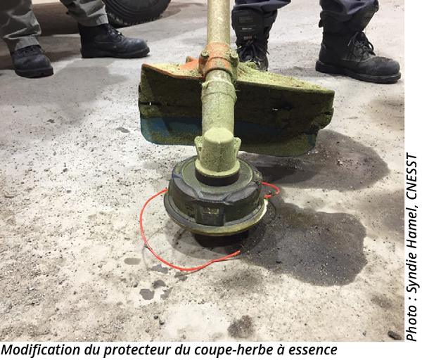 Modification du protecteur du coupe-herbe à essence